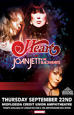 HEART / JOAN JETT & THE BLACKHEARTS 2016 TAMPA CONCERT TOUR POSTER - Rock Music