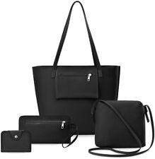 Damentaschen Set 4 in 1 Shopper Clutch Handgelenktasche Etui schwarz
