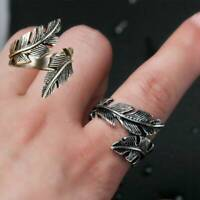 Vintage Mens Ring Retro Gothic Antique Silver Stainless Steel Feather Rings Band