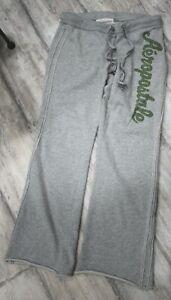 Aeropostale Women's Logo Gray Sweat Pants Gray w/Green Logo Drawstring Size S