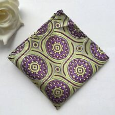 F109 new green purple flowers 100% silk man handkerchief wedding pocket square