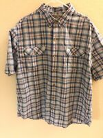 Duluth Trading Co Men's XL Blue,Red, White Plaid Short Sleeve Button Down Shirt