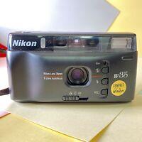 Pristine Nikon W35 35mm Point & Shoot Compact Film Camera + Case! Working Lomo
