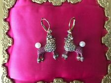 Betsey Johnson Paris Is Always A Good Idea Crystal AB Pink Poodle Dog Earrings