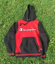 MENS VINTAGE CHAMPION Red&Black EMBROIDERED SPELL OUT HOODIE PULLOVER SIZE SMALL