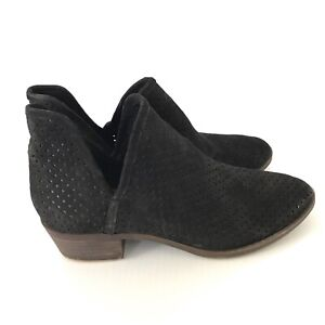 LUCKY BRAND Baley Black Suede Perforated V-cut Ankle Booties Womens Size 8