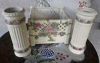 Weller Roma Console Bowl With 2 Matching Vases Rose Trellis