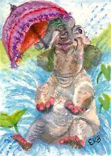 ACEO Original Watercolor Art Card Miniature by Eileen fantasy Elephant Waterhole