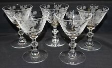 """Tiffin Franciscan USA Etched Rose 5 Cocktail Stems 4 1/8"""" #17474"""