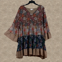PLUS BOHO Vintage Embroidered FLORAL  BELL SLEEVE TIERED BABYDOLL TUNIC Brown
