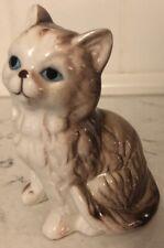 Vtg Cat Figurine Long Hair White & Brown Kitten Statue Figure Blue Eyes Taiwan