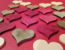 New Shabby Chic 24 X Mini Wooden Hearts Card Toppers Table Confetti