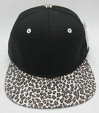 Black Blank Snapback Cap Hat Faux Leopard Print Visor Streetwear Caps Hats NWT