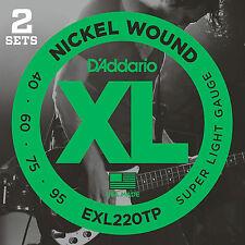 D'ADDARIO EXL220TP XL NICKEL BASS STRINGS 2 PACK - SUPER LIGHT GAUGE 4's - 40-95