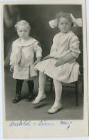 RPPC-Real Photo Postcard - HAY Family-Cute Children-Gerald-Irene-Big Hair Bow