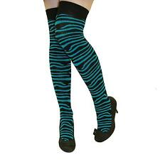 Ladies Funky Black Turquoise Zebra Lycra Sexy Teens Over The Knee Socks Stocking