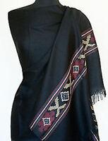 "Black Handwoven Wool Shawl from Kullu Valley India Jamavar Wrap Stole 80""x28"""