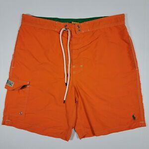 Polo Ralph Lauren Orange Swimming Shorts - Cargo Pocket - Green Pony - LARGE