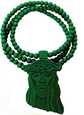 Jesus Christ Pendant Christian Green Wood Wooden Necklace With Chain