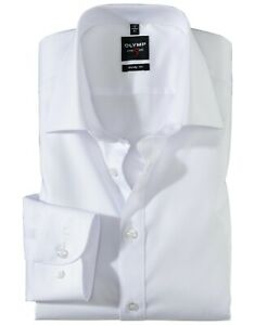 Mens Shirt Olymp Level 5 Slim Fit White Easycare Cotton Long Sleeve