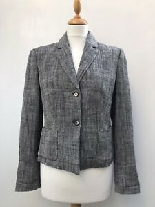 CLAUDIA STRÄTER Grey Linen Single Breasted Blazer Jacket - EUR 38 / UK 10