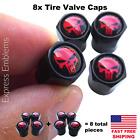 8pcs Punisher Wheel Tire Valve Cap Stem Cover For Bike Car Trucks Atv Red