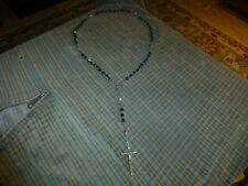 """Vintage STERLING SILVER GLASS BEAD ROSARY CROSS CRUCIFIX Pendant Necklace 21"""""""