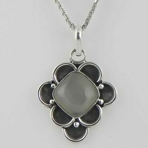 Solid 925 Sterling Silver Rainbow Moonstone Pendant Necklace Women PSV-2125