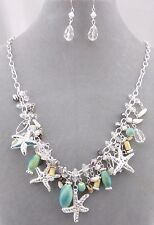 Starfish and Bead Dangle Necklace Earrings Set Silver Fashion Jewelry NEW