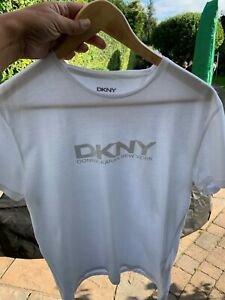 "DKNY MEN'S WHITE T-SHIRT TOP MEDIUM 36"" CHEST"