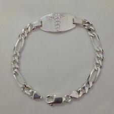 """8"""" (13.3g) Sterling Silver Figaro Link Chain Medical ID Bracelet, Free Engraving"""