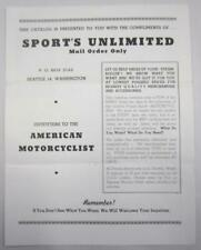 Harley Indian Motorcycle Parts Racing Accessories Sports Unlimited Brochure Add