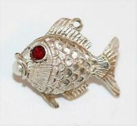 Fish With Faux Pearl Sterling Silver Vintage Bracelet Charm With Gift Box 5.2g