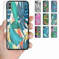 For OPPO Series Tropical Leaf Print Tempered Glass Back Case Mobile Phone Cover