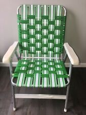 Vintage Lawn Chair Aluminum Vinyl Tubing Webbed GreenWhite Pool Beach SunTerrace