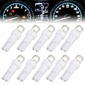 10x White T5 LED Bulbs 12V Dashboard Lamp Instrument Panel Lights Signal Light