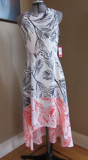 NWT Vince Camuto Hi Low Hem Dress White, Red and Navy Sleeveless Dress, Size 8