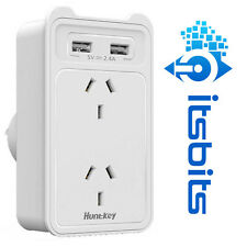 HUNTKEY 2x USB 240V POWER WALL CHARGING STATION 2.4A SUIT TABLET SMART PHONE MP4