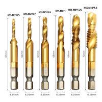 6 X Punte per forare e filettare, maschiare, M3 - M10 al nitruro di titanio.