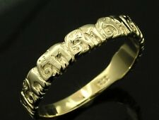 sR017-> ADORABLE Genuine 9ct Solid Yellow Gold LUCKY Elephant BAND Ring size 8.5