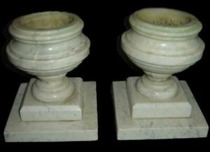 Antique RARE Pair of Solid Arabescato Carrara Marble Pedestal Planters Urns 1850