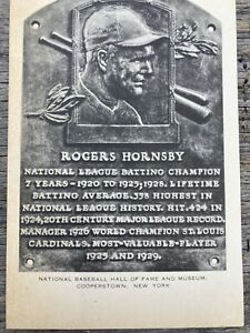 1953-63 Artvue Rogers Hornsby Baseball Hall of Fame Plaque Postcard Unused