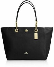 Coach Large Black Pebbled Leather Turnlock Chain Tote NEW