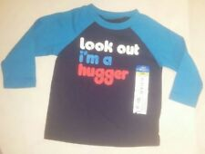 NWT Boys Okie Dokie Long Sleeved Blue Look Out I'm A Hugger Shirt Size 9 Months