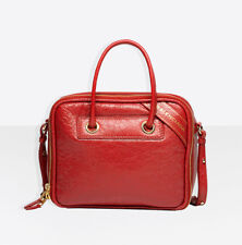 BALENCIAGA Blanket Square S Small Bag in Rouge Brique (Red) Arena Leather