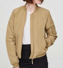 NEW Short Bomber Jacket Padded Olive Green Khaki Ribbed Collar Quilted TagOn Med