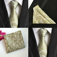 Men Champagne Paisley Floral Silk Tie Pocket Square Handkerchief Set Lot HZ069