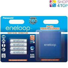4 PANASONIC ENELOOP RECHARGEABLE AAA HR3 BATTERIES STORAGE CASE 1.2V 750mAh NEW