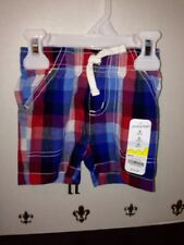NEW WT Jumping Beans Boy's/ Infant 6 Month Elastic Waist Red/ Blue Plaid Shorts