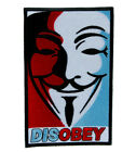 Disobey V for Vendetta Patch Embroidered Iron on Applique Mask Movie Anonymous